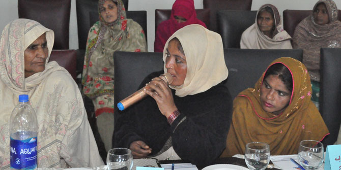 Rafia Bibi speaking at the multi-stakeholder platform