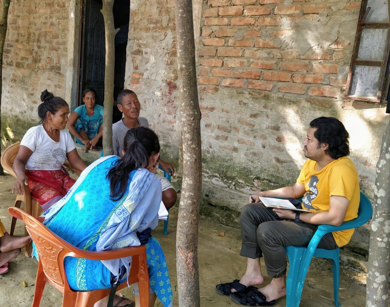 Khonila Snal (57), a Garo woman from Bangalvita village of Tahirpur Upazila under Sunamgonj district is being interviewed during field work.