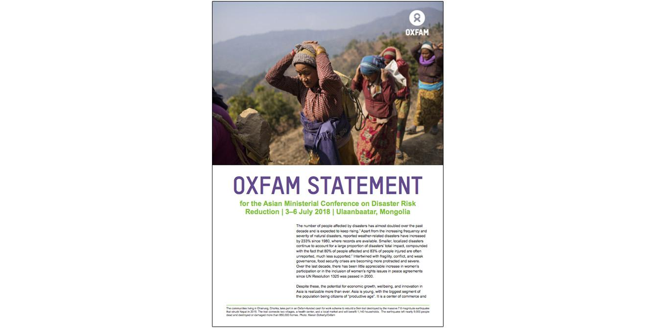 Oxfam in Asia - Asia Resilience Hub - Statement: AMCDRR 2018
