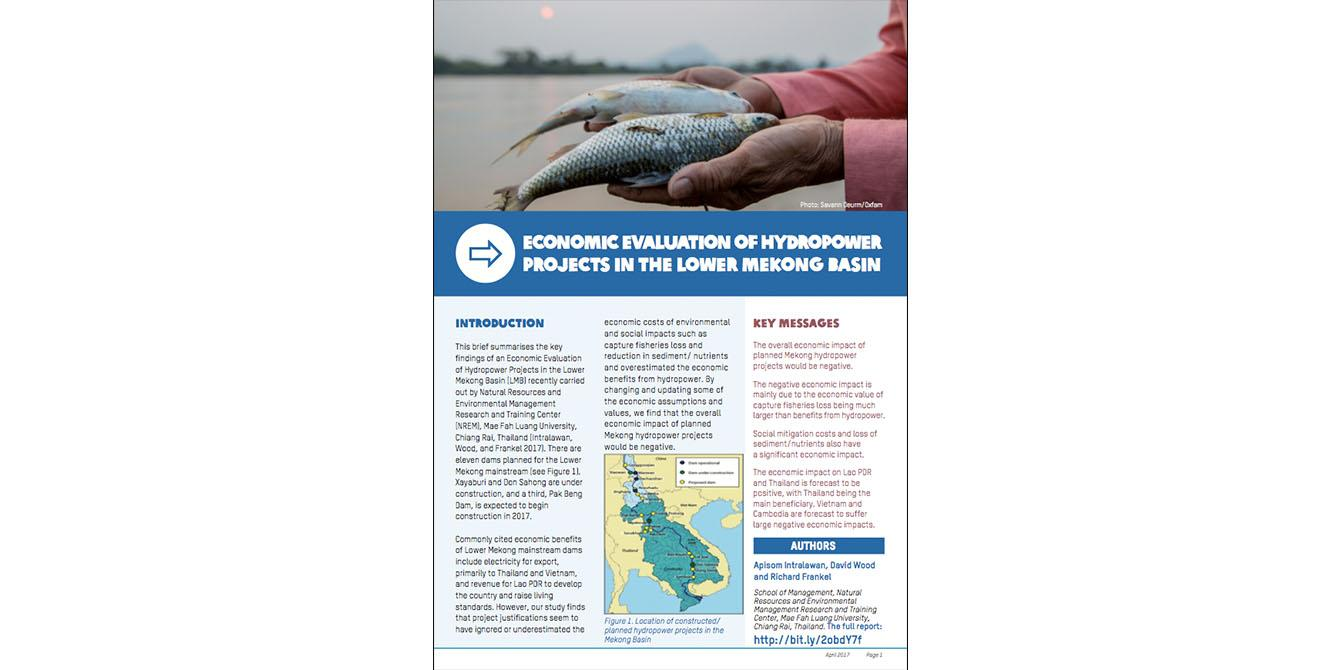 Oxfam in Asia - Mekong Water Governance - Economic Evaluation of Hydropower Projects in the Lower Mekong Basin