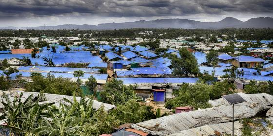 Stormy skies over Rohingya refugee camps in Cox's Bazar.