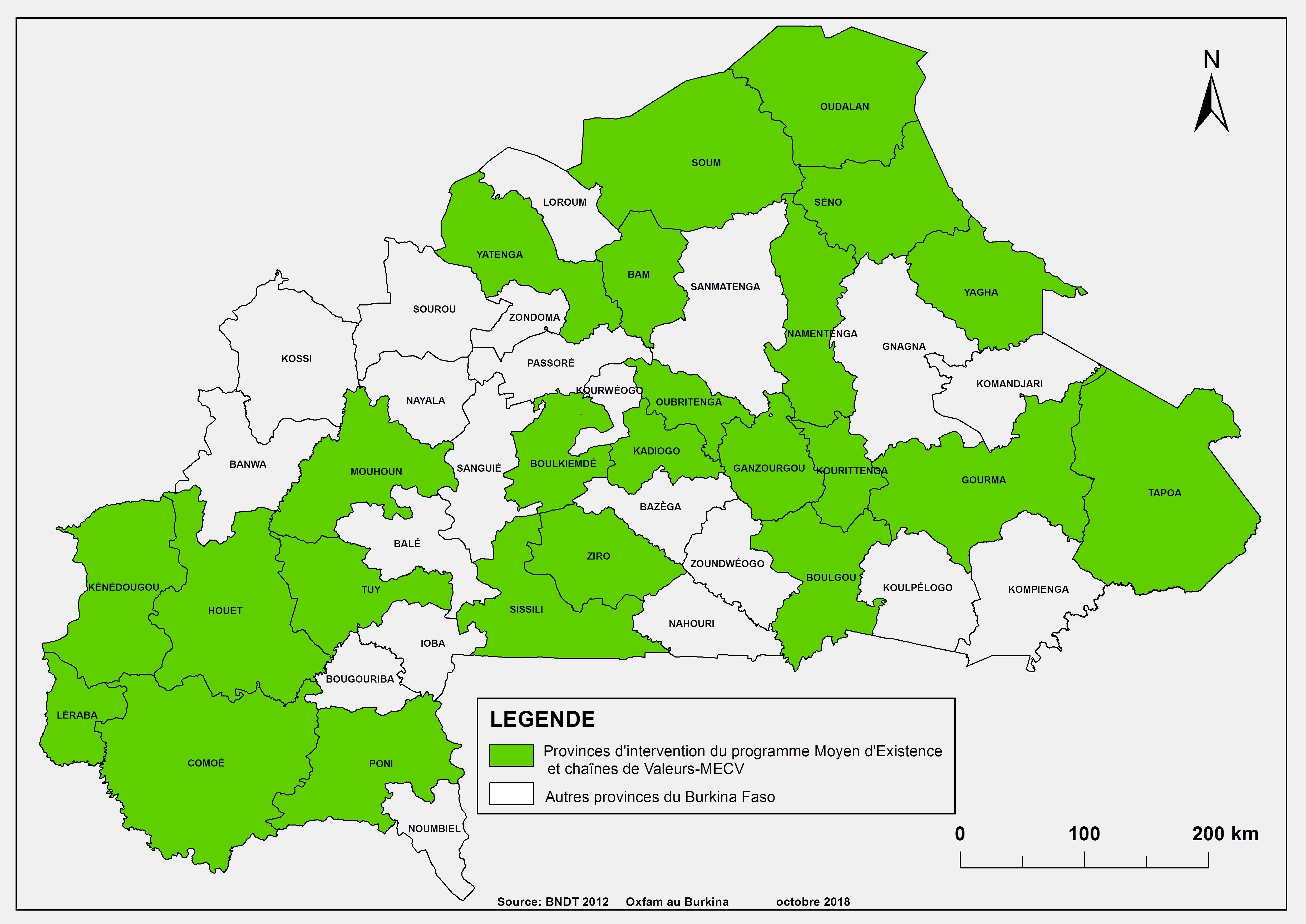 Zone d'intervention de Oxfam au Burkina dans le cadre de son programme  Moyens d'existence Chaines de valeurs