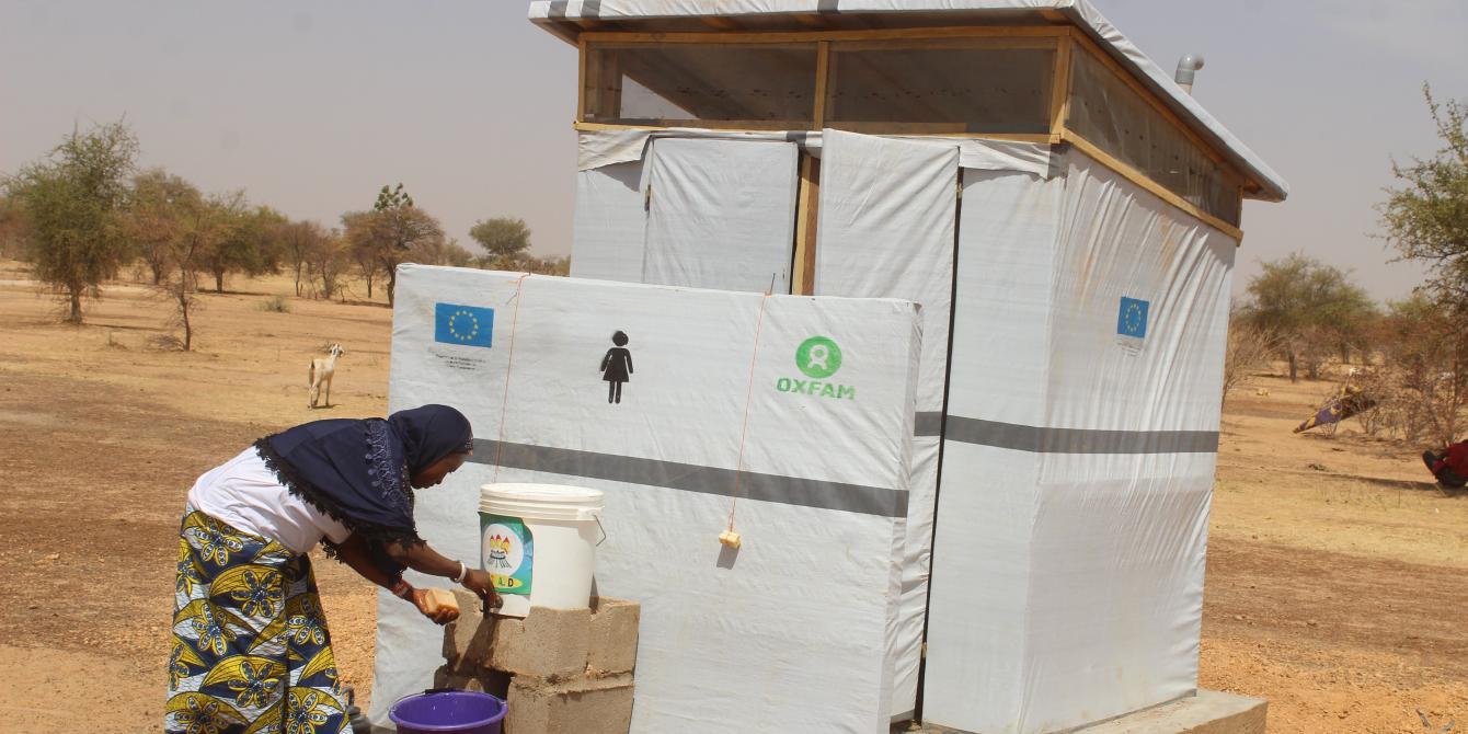lattrine d'urgence pour des personnes déplacées internes au Centre Nord du Burkina Faso