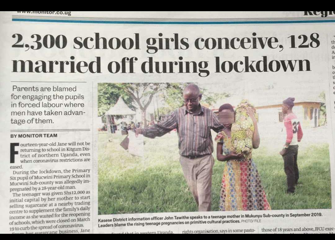A newspaper cutting showing an increase in teenage pregnancies in Uganda. Photo by the Daily Monitor, Uganda