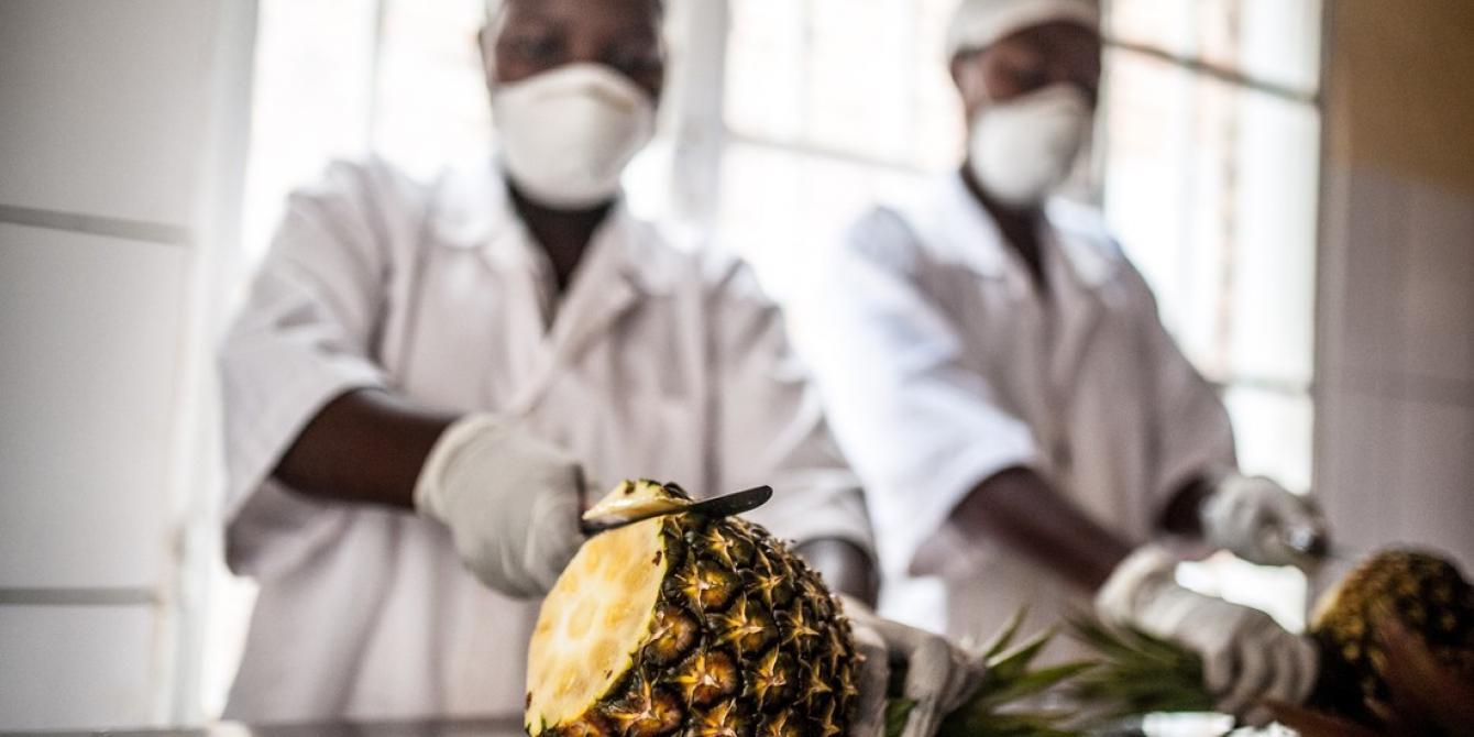 Women peel pineapples at the Tuzamurane pineapple cooperative processing plant in Eastern Rwanda, Kirehe District. Aurelie Marrier d'Unienville / Oxfam