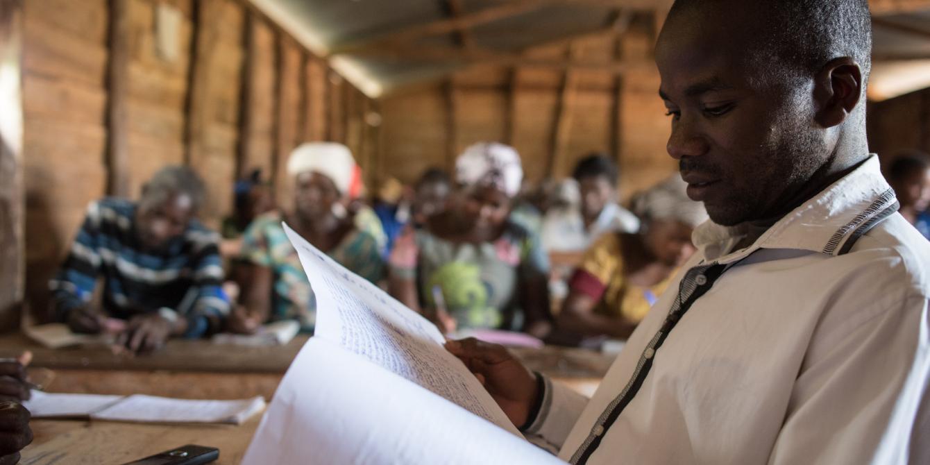 Floribert, a community member in Kabare territoy, South Kivu, attends an Oxfam training on Protection. Ramon Sanchez Orense/Oxfam