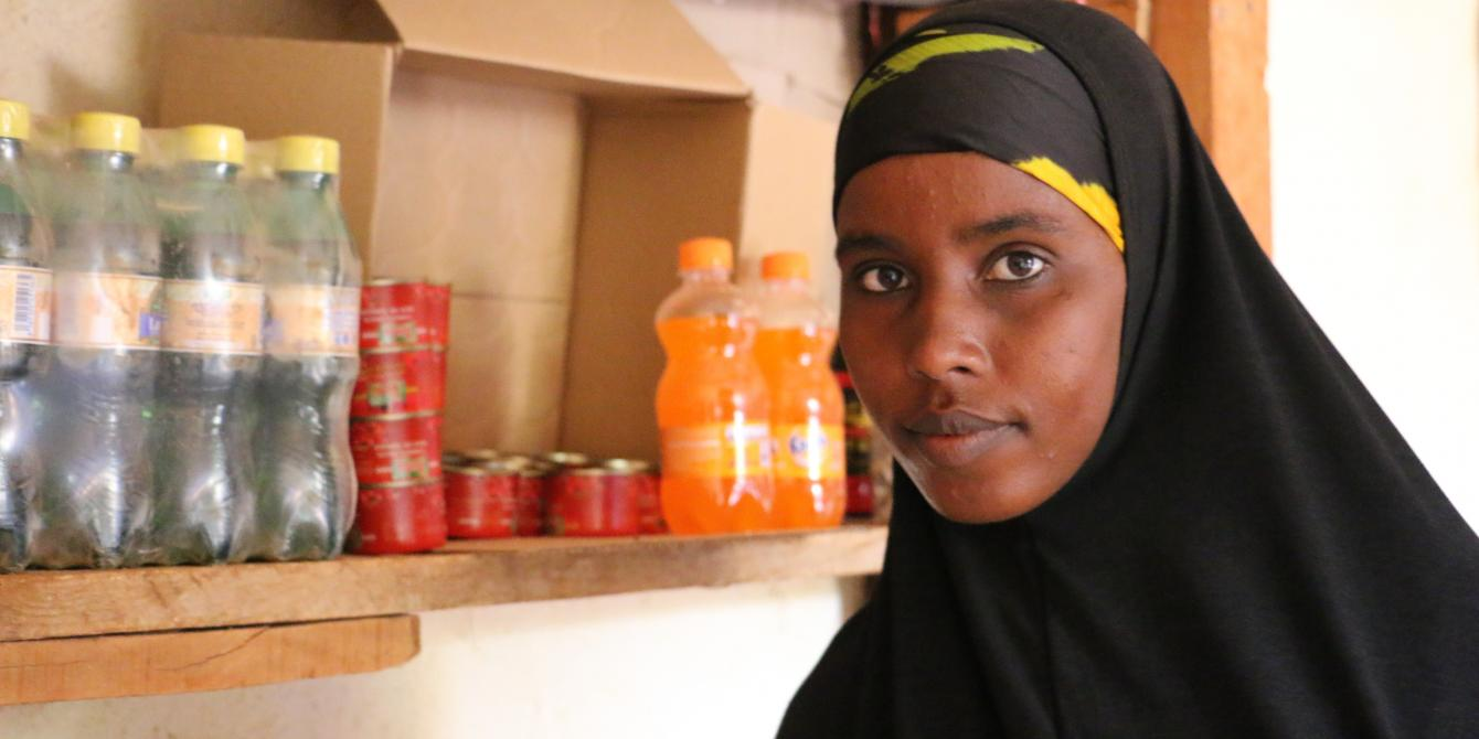 Halima Hassan Adan in her shop in Ajawa, Wajir County. Photo credit: Joyce Kabue
