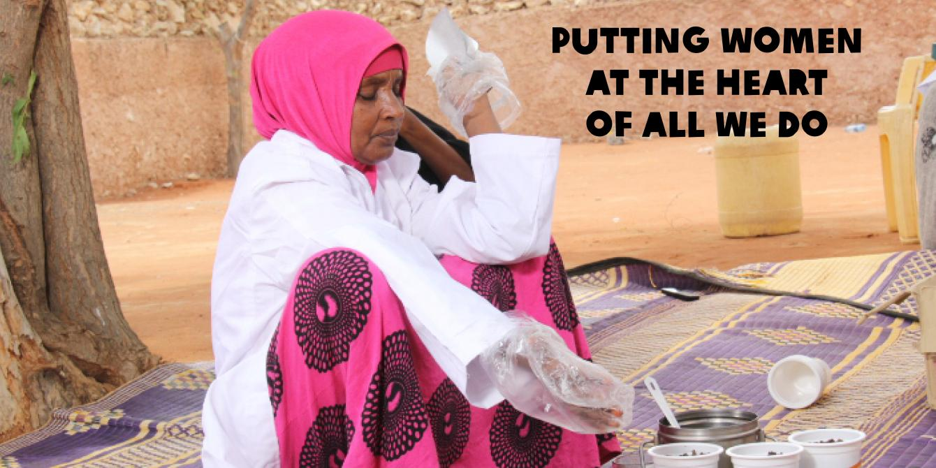 Habiba Hudhow packaging nyirinyiri (camel) meat in Wajir. Photo Credit: Benson Guantai