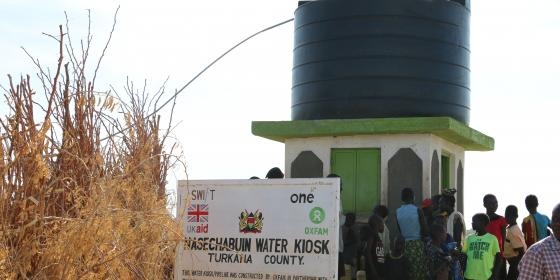Oxfam supported water kiosk in NAsechabuin , Turkana. Photo Credit: Joyce Kabue