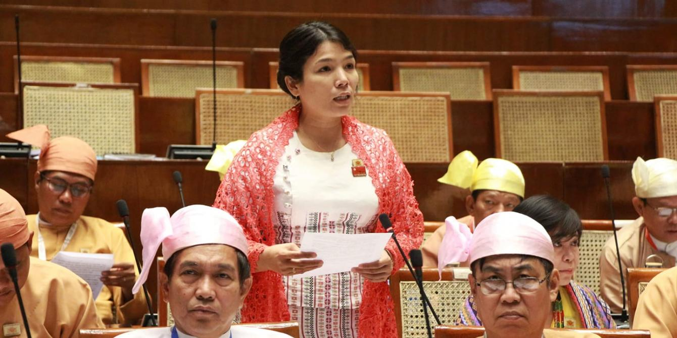 Ma Kyi Pyar speaking in the parliament/ Photo: Ma Kyi Pyar's Facebook account