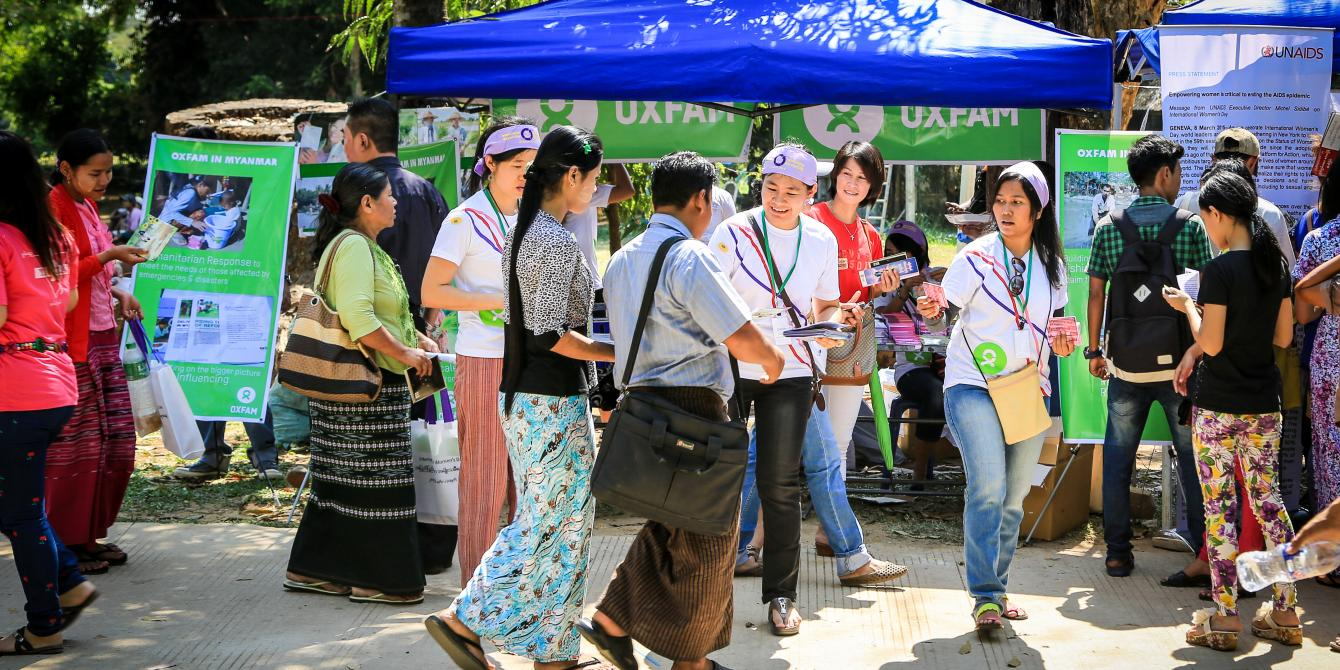 Oxfam's booth at the International Women's Day celebration in Yangon, Photo by: Pyae Aye Nyein/ Oxfam