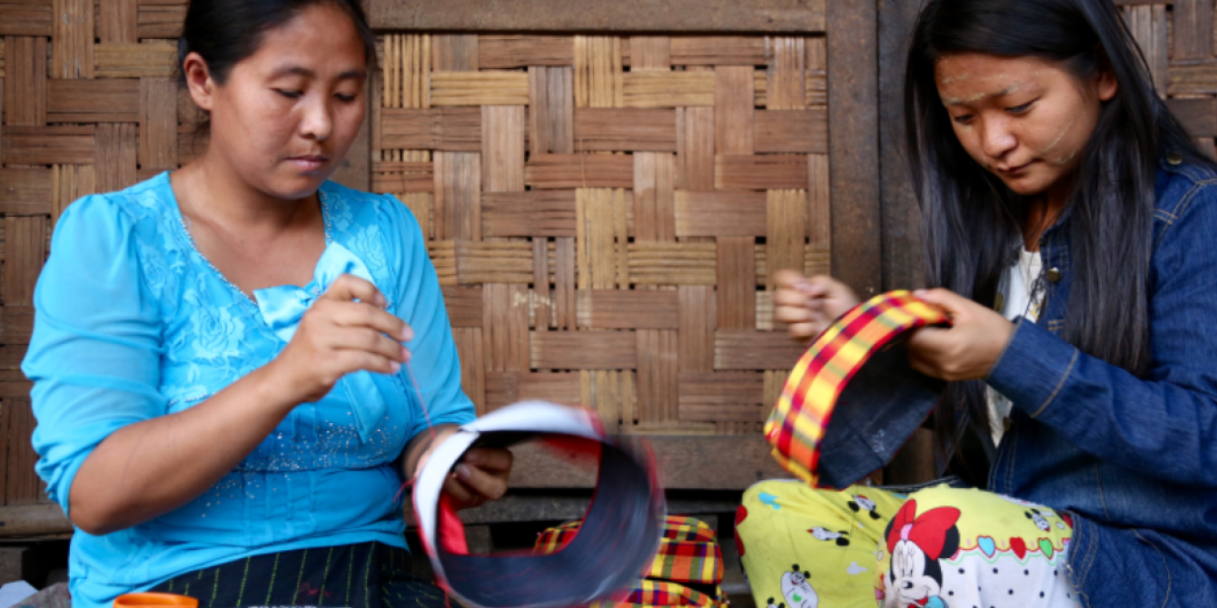 2 local women doing their local hat production business in Kachin state