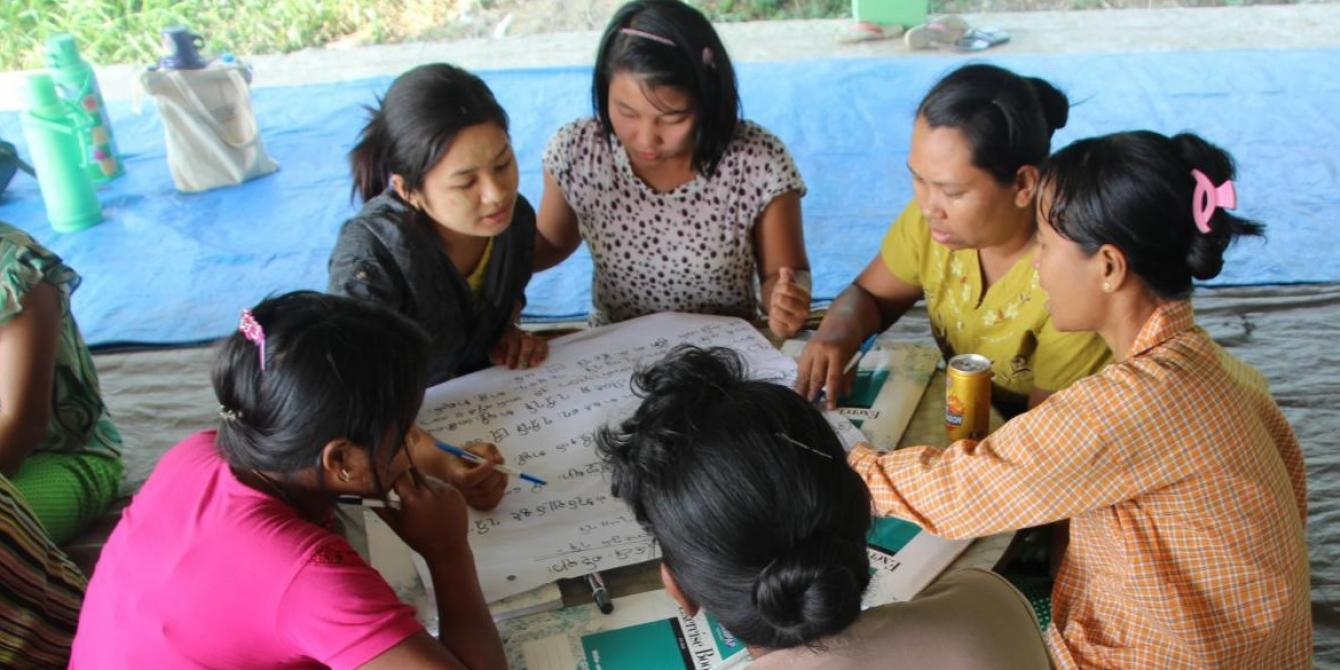 A group of women are discussing about their concern for the village development, Photo by: Pan Ei Phway Phyu Sin/Oxfam