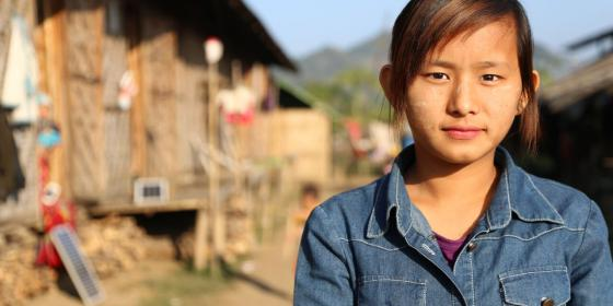 Bauk Nu Aung, a young girl who is living in Kachin IDPs camp. She is a volunteer who is doing civic education as part of Oxfam's programme. Photo by: Dustin Barter/ Oxfam