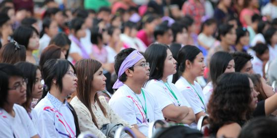Audience at the Music concert on International Women's Day listening to the songs promoting women's leadership. Photo by: Pyae Aye Nyein/ Oxfam