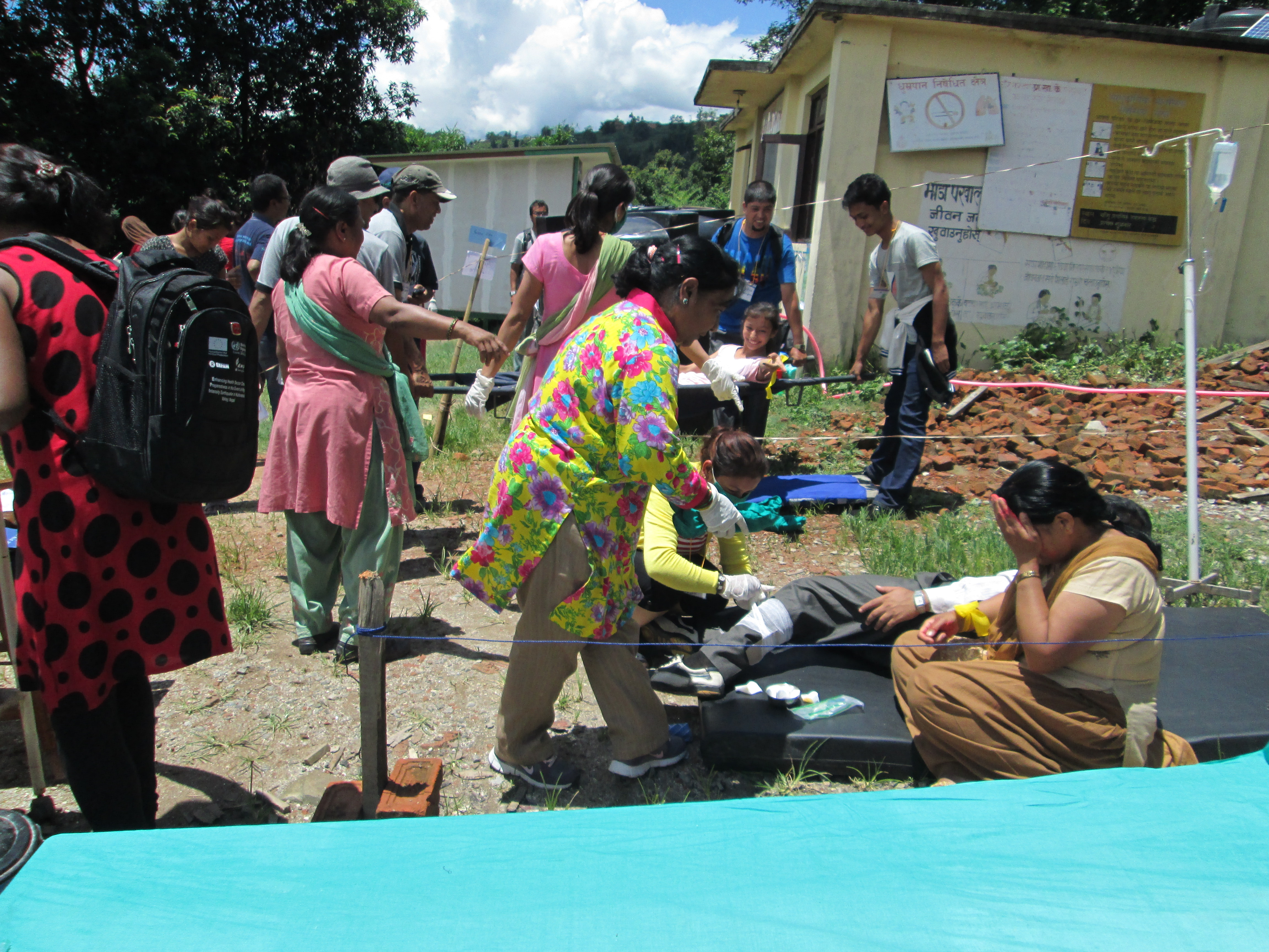 An hour after the earthquake, injured are treated effectively at the PHC - Credit: DRR team/Oxfam