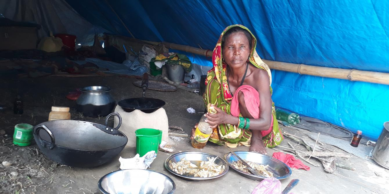 Jitini Devi Sada in her makeshift home on an embankment in Rampur Malhaniya of Saptari district.