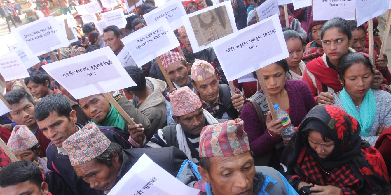 People in Gorkha demanding fair reconstruction grant. Photo credit: Oxfam