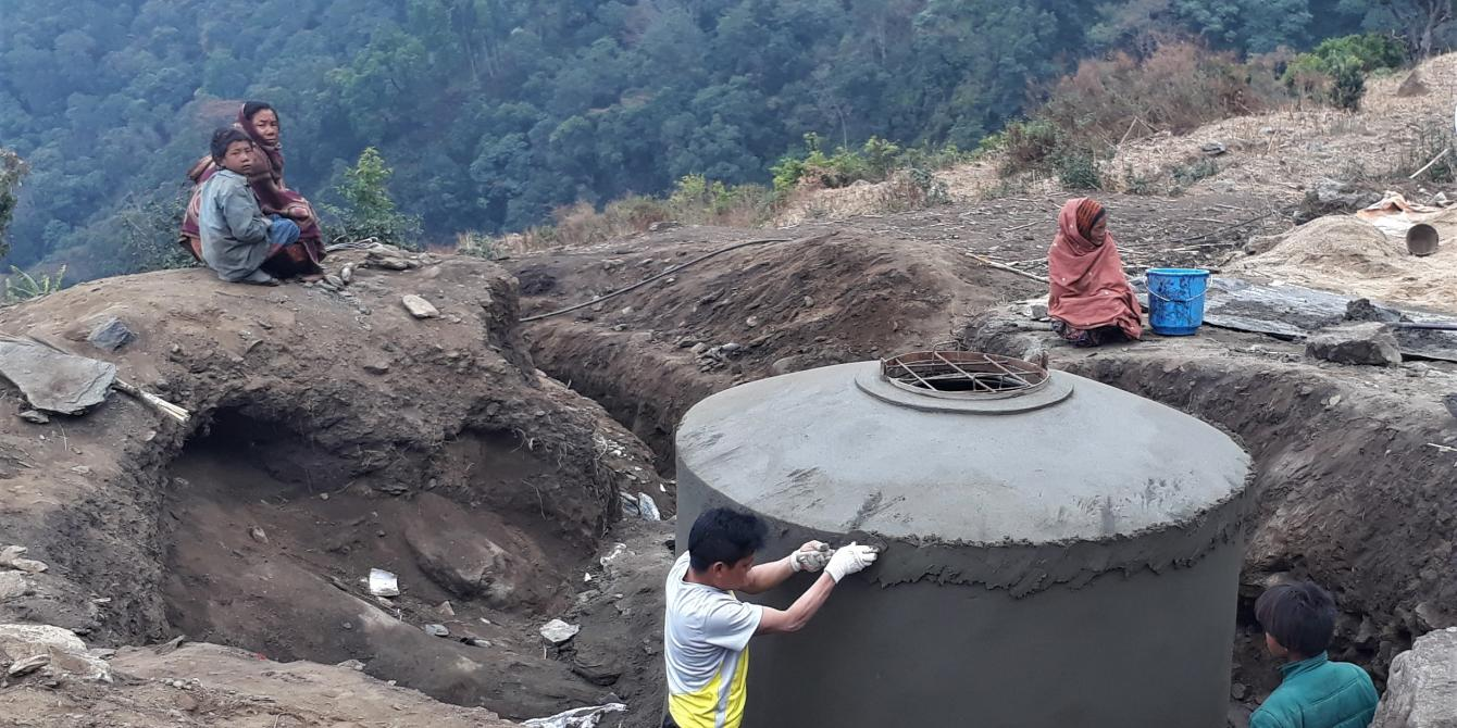 Syadul Bhalinatar Water Supply System under construction in Dhading for 188 families.