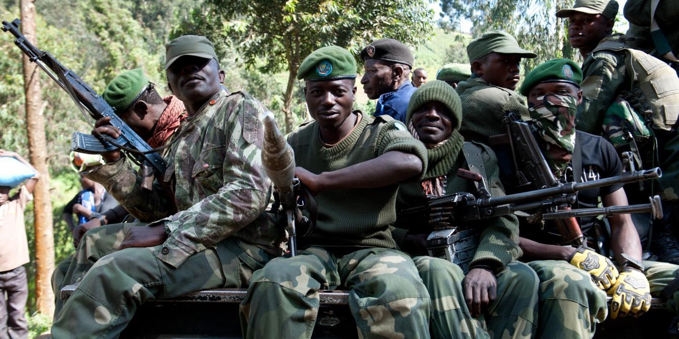 Soldiers on patrol in Masasi, North Kivu in Democratic Republic of Congo