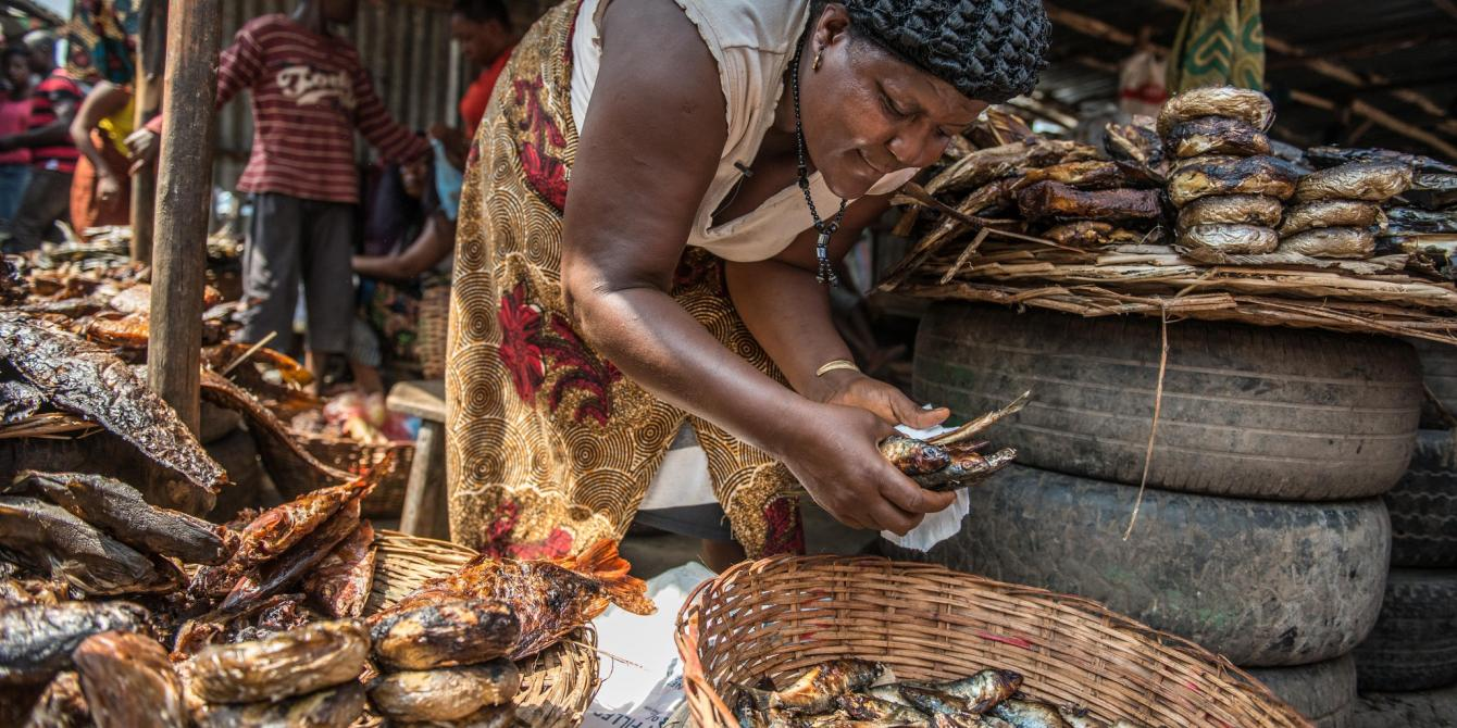 Elizabeth Bagra is a fish vendor at sidiga market in Kinshasa