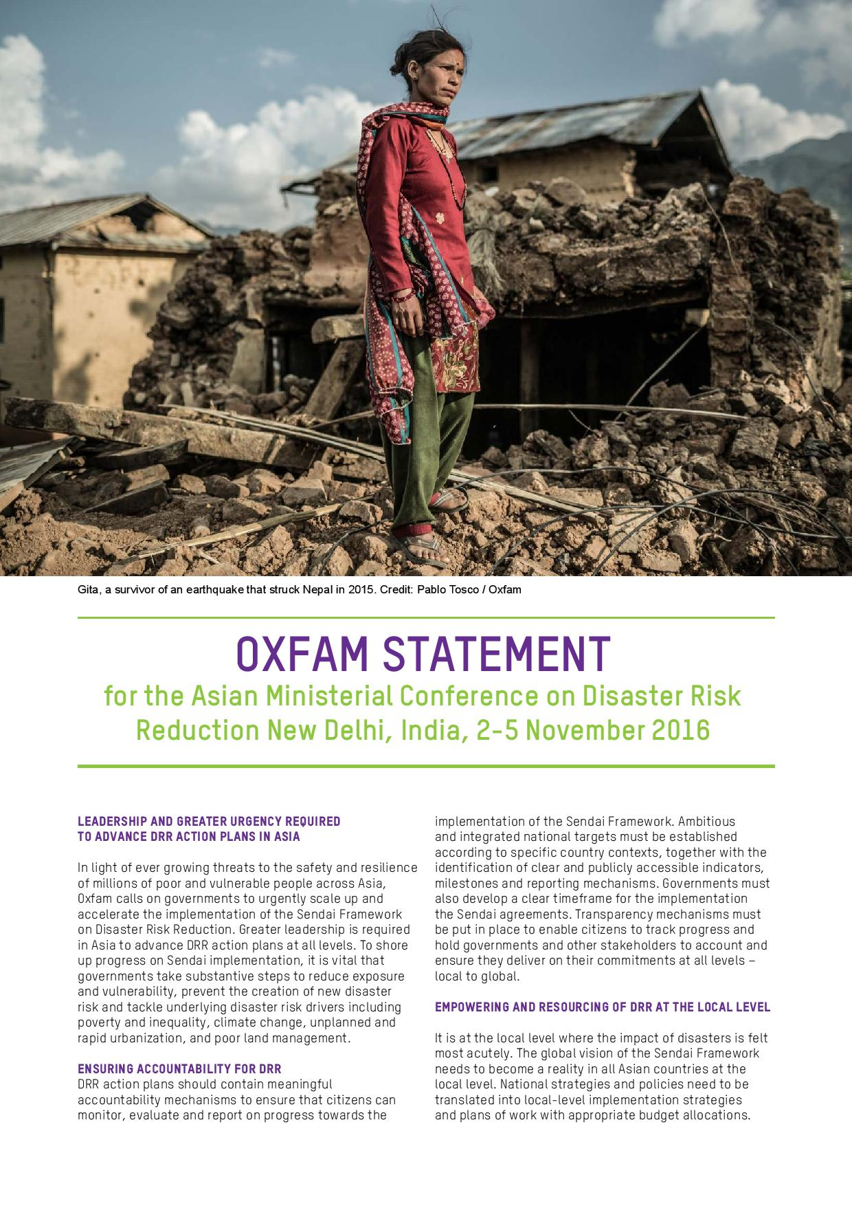 Oxfam statement Asian Ministerial Conference on Disaster Risk Reduction