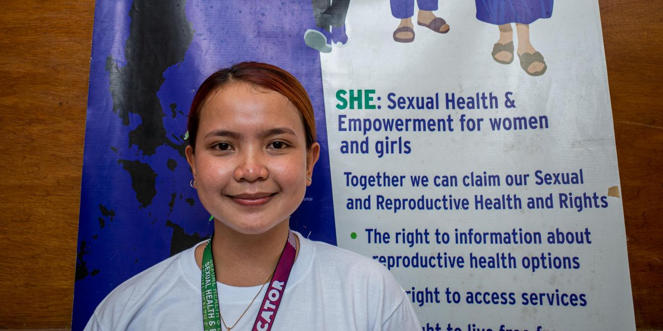 Ella Niña Serito poses for the camera during a training program under the Sexual Health and Empowerment Project in Samar province on April 26. Serito advocates the end for discrimination against members of the LGBTQI community and other vulnerable sectors of society. The 20-year-old college student is the youngest among siblings in a family that has three gays and one lesbian. (Photo: Mark Saludes/Oxfam)