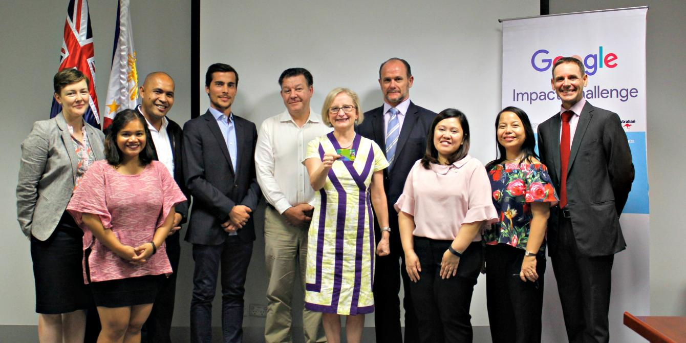 "Australian Ambassador to the Philippines H.E. Amanda Gorely led the awarding of the Google Impact Challenge ""Technology Against Poverty"" Prize to Oxfam's I AFFORD Project. Joining the launch were partners from Visa and PayMaya, represented by Stuart Tomlinson (Country Manager from Philippines and Guam, Visa) and Paolo Azzola (Managing Director and COO, PayMaya)."