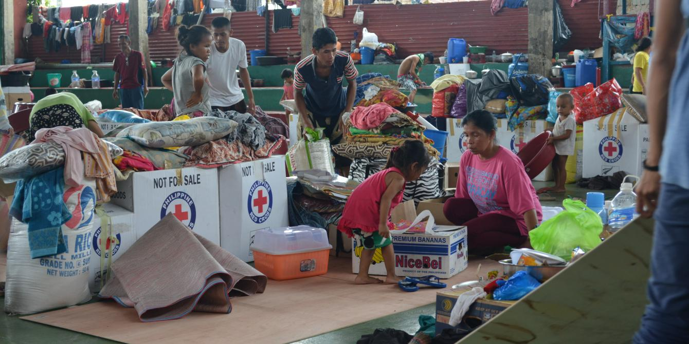 Displaced families inside evacuation centers rely on the government and other organizations to survive the crisis