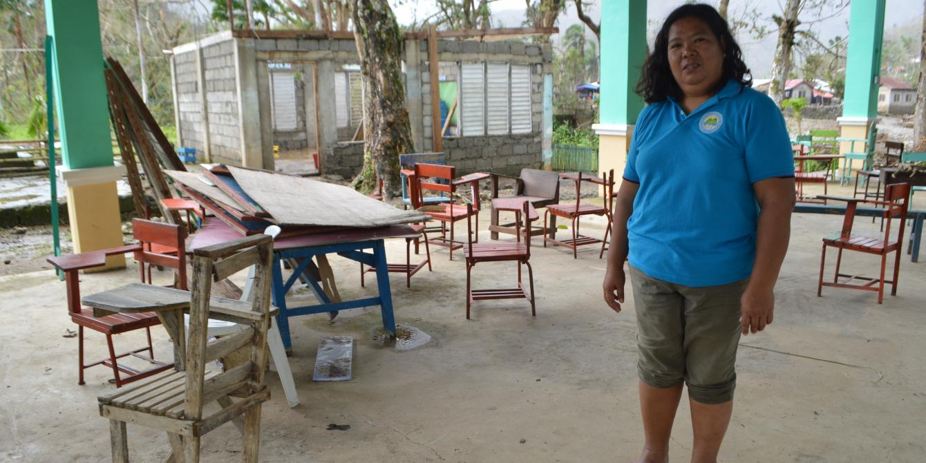 Rita Soriao, principal of Dugui Too Elementary School at the school grounds
