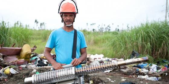 Leo Olobia (49) Fogging Machine Operator. (Photo: Eleanor Farmer/Oxfam)