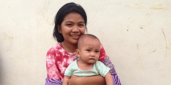 Nashreema, 18, with her son Jomal