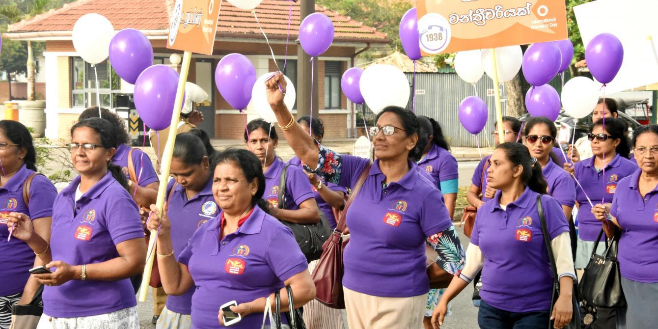Women at the International Women's Day March outside Viharamahadevi Park. Photo credit: Sheshadri Kottearachchi