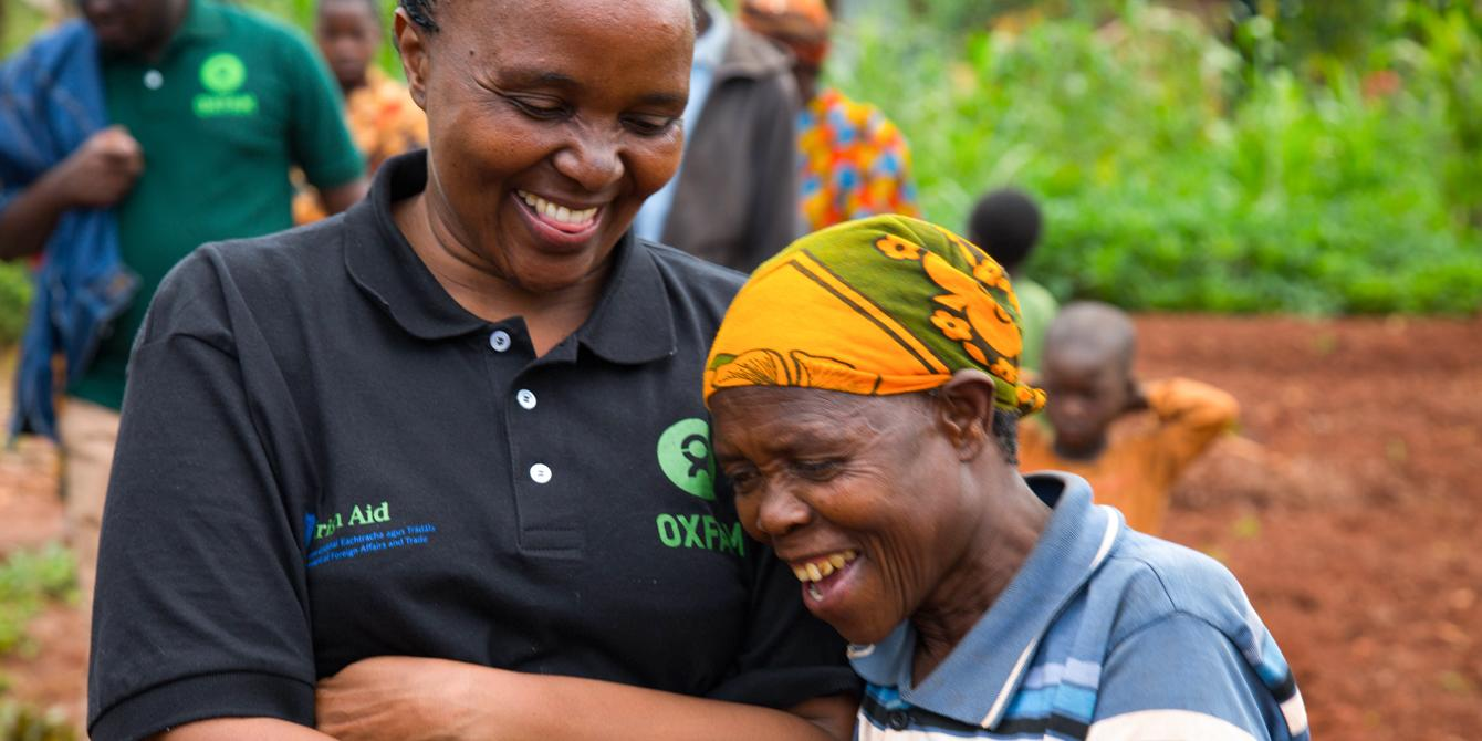 """It is great to see a smile on many faces because of Oxfam's humanitarian work."" Said Betty Malaki, Oxfam in Tanzania Head of Programmes during a visit to Nduta camp. - Photo: Bill Marwa/Oxfam"