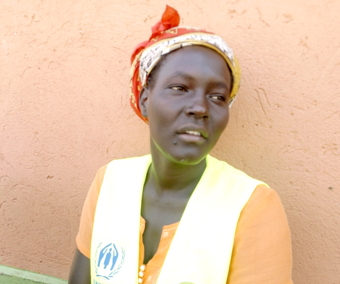 Sarah Utua a refugee mother and pump operator at Ure pump constructed by Oxfam Photo:Oxfam