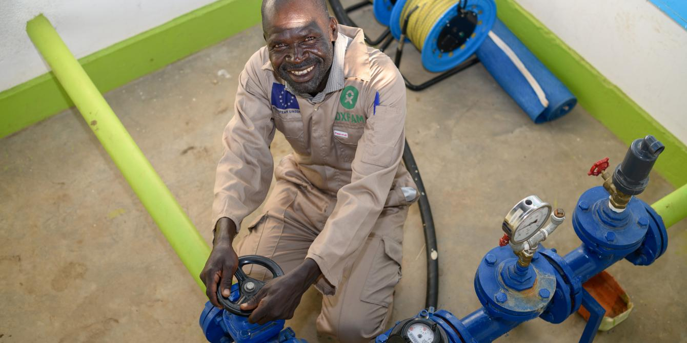 Veterino is a pump attendant at the motoraised water system plant in Imvepi settlement..