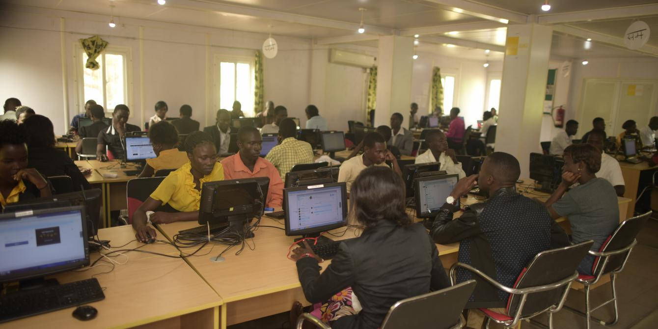 One of the Oxfam-SINFA internet Now centres for youth employment  in Gulu. Photo credit: Oxfam