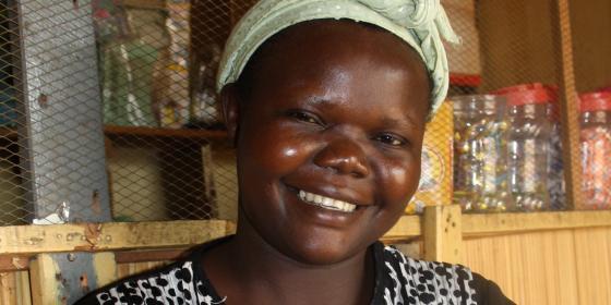Oxfam supported farmer, Lilian Aguaru in her shop. Credit: Dorah Ntunga/Oxfam