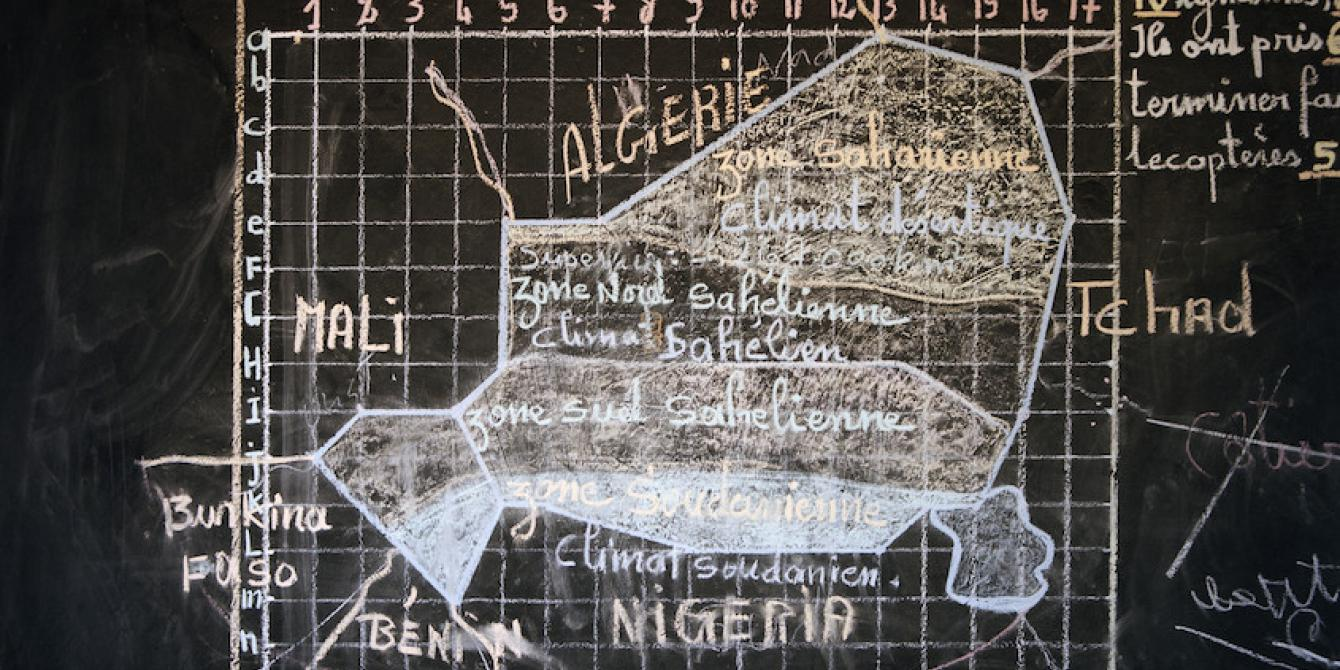 La carte du Niger à l'intérieur d'une «école de transition» dans le village de Gorga, organisée par l'ONG ASEC Mungane. Chris de Bode/ Oxfam