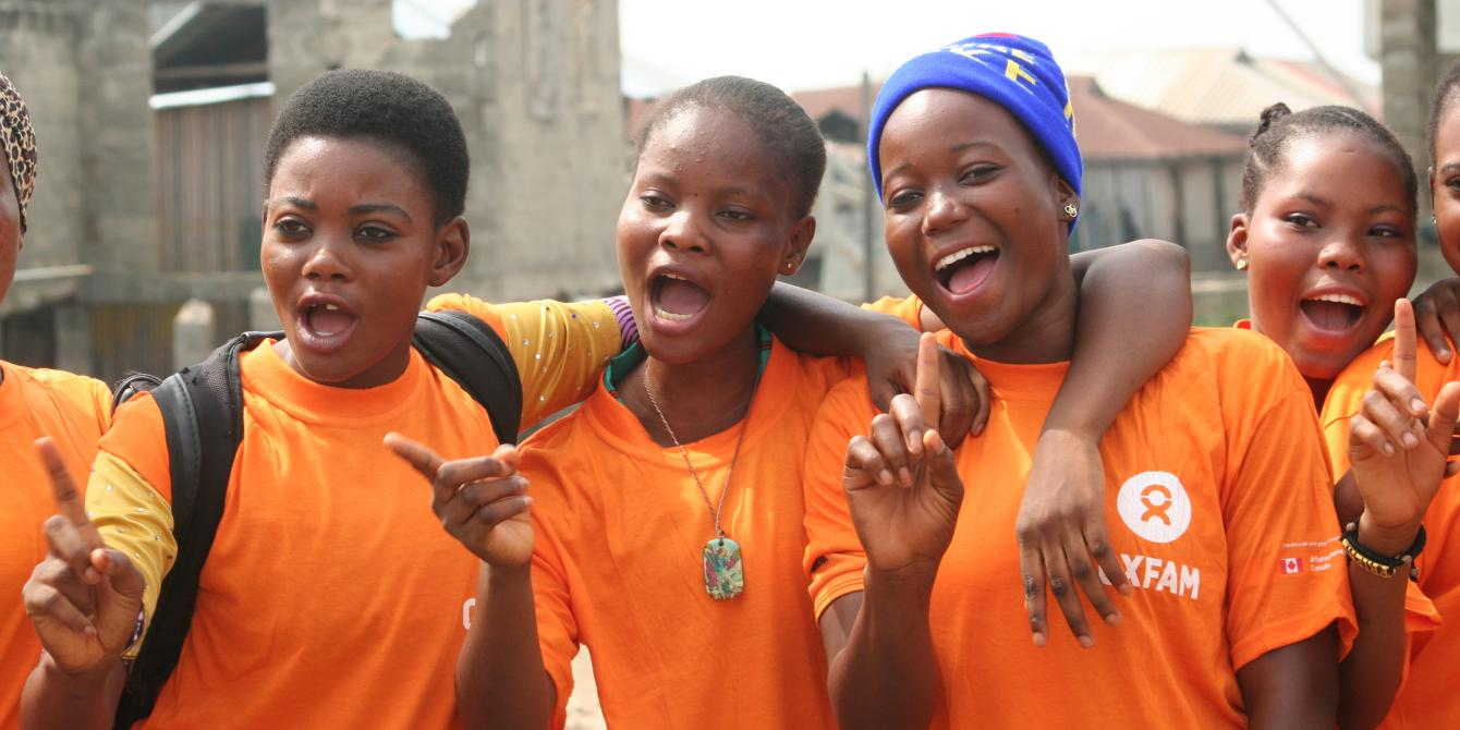 Young girls from Benin say no to violence against women and girls during a demonstration in Sô-Ava in Benin as part of the 16 days of activism.