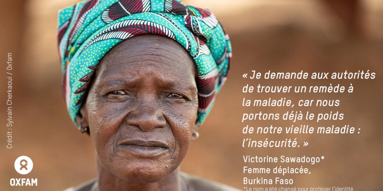 Victorine a fuit les violences, a perdu son mari et est à la tête d'une grande famille. Crédit : Sylvain Cherkaoui / Oxfam