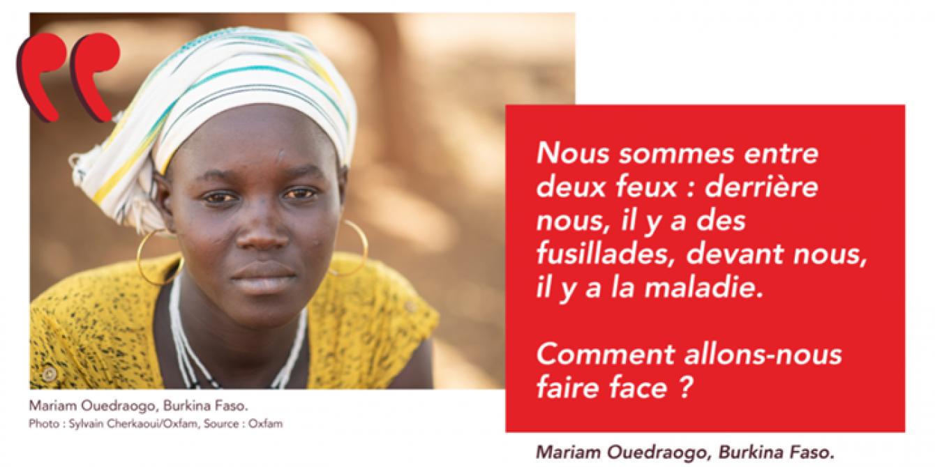 Mariam, jeune mère de la région Centre-Nord au Burkina, a dû fuir et se réfugier dans la région de Kaya à cause de la recrudescence des attaques des groupes armés. Crédit photo : Sylvain Cherkaoui /Oxfam