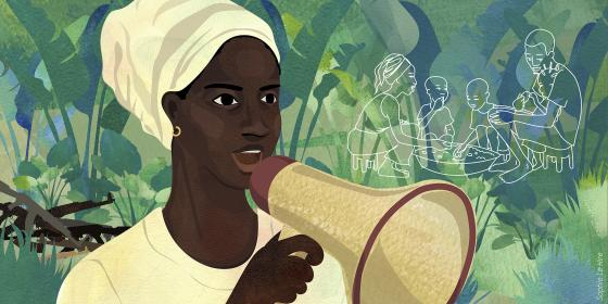 Illustration of Sylvie in the Central African Republic. Credit : Sophie Le Hire